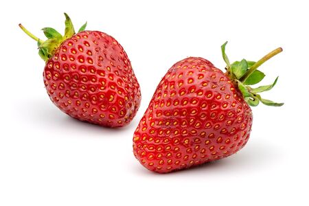 Two strawberries isolated on white background. Full depth of field with clipping path.