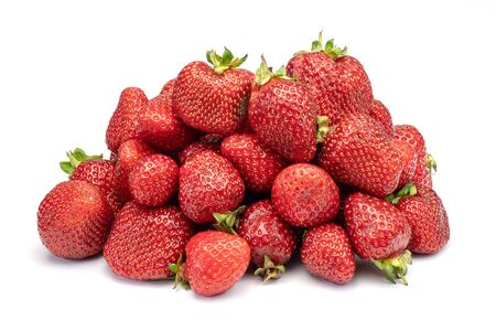 Heap of fresh strawberries isolated on white background. Stock Photo