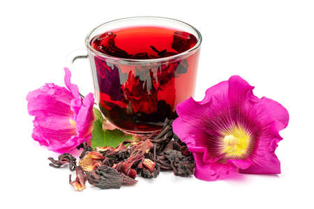 Hibiscus or mallow herbal tea. Hibiscus tea, flower and dry blossom isolated on white background.