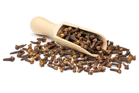 Dried clove spice in the wooden scoop isolated on white background. Full depth of field close-up. Stock Photo