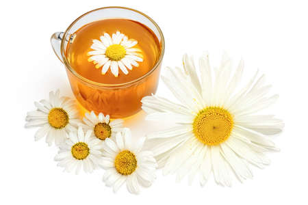 Cup of chamomile tea. Herbal tea with fresh chamomile flowers isolated on white background.
