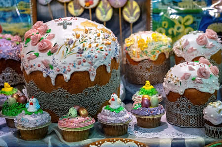 Easter cakes and Easter eggs in an Orthodox church.