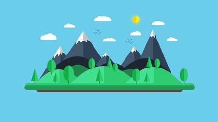 Vector flat illustration of nature landscape in simple cute style, outdoor concept