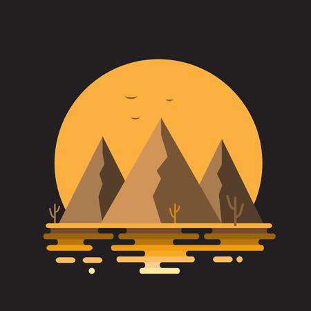 Vector flat illustration of summer nature desert landscape with mountains