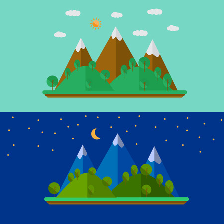 Vector illustration of nature landscape with mountains in flat style