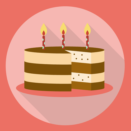 Chocolate Birthday Cake Flat Icon With Long Shadow Cake Symbol