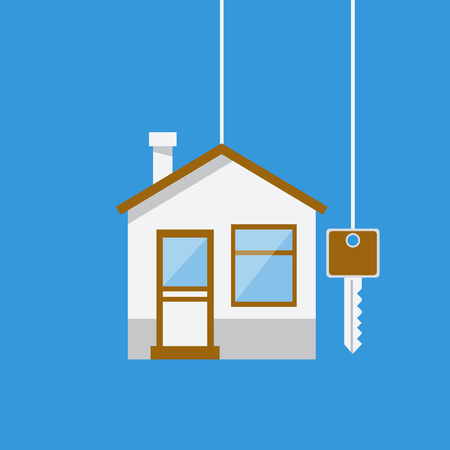 Real Estate concept House with key. Template for sales, rental, advertising. Vector illustration flat design