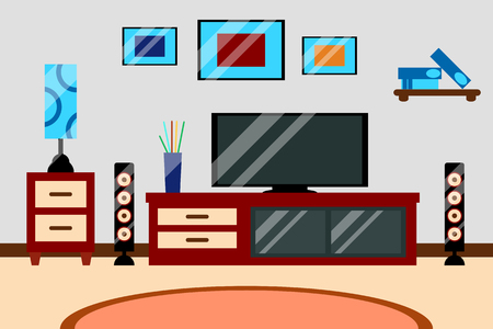 Flat creative modern design living room workspace with TV and furniture. Vector illustration of Interior living room.