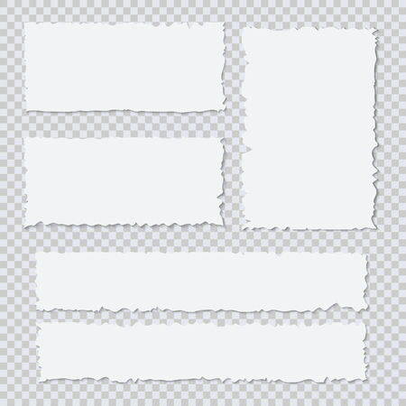 Blank white torn paper pieces on transparent background. Design element ripped sheets paper. Vector illustration set Vectores