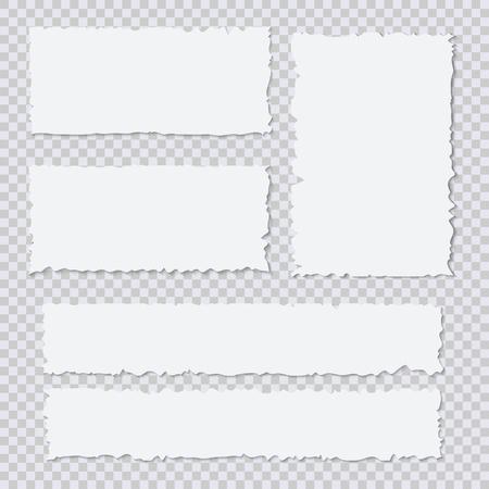 Blank white torn paper pieces on transparent background. Design element ripped sheets paper. Vector illustration set Illustration