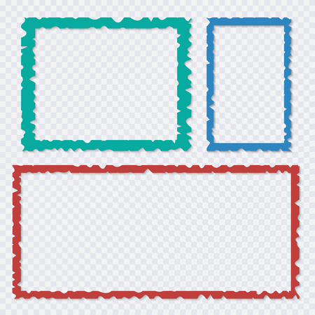 set of color torn paper frames with shadows vector templates