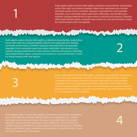 Torn paper options vector infographic template. Vector illustration of grunge torn horizontal cardboard. Can be used for diagram, number options, web design