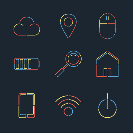 mouse: Vector set of creative linear web flat style. Minimal mobile design and web design. Vector illustration