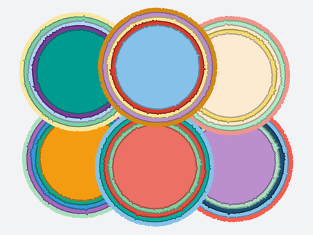 snatched: Set of colorful round torn paper frames with shadows. Vector templates for design