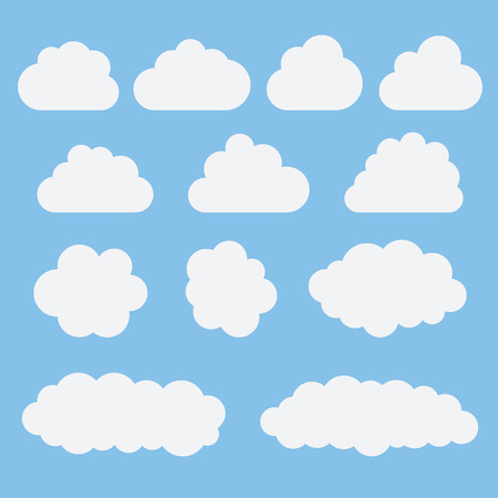 Collection of white cloud icons, signs,weather symbols flat style. Set of vector sky elements for web, art and app design Illustration