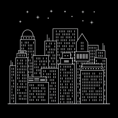 nighttime: Night modern city Line art. Cityscape Buildings. Vector Illustration design