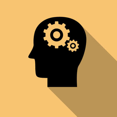mental activity: Black Head with gears, Brain activity icon with long shadow. Creative logo design. Modern vector pictogram concept for web design