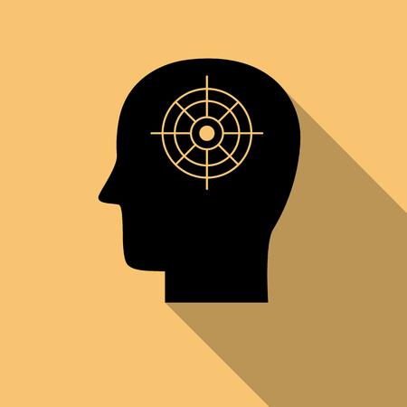 Black human mind icon, doel symbool met lange schaduw. Creatief logo ontwerp. Modern pictogramconcept voor webdesign