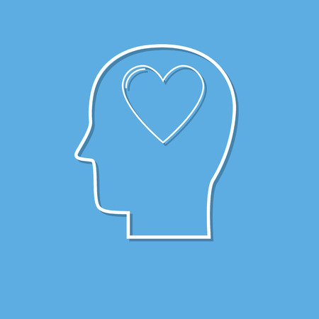 Human head with heart icon ,love symbol cut from white paper. Creative logo design. Modern pictogram concept for web design