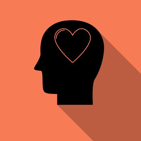 Menselijk hoofd met hartpictogram, liefdesymbool met lange schaduw. Creatief logo-ontwerp. Modern pictogramconcept voor Webontwerp