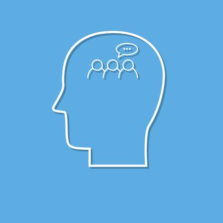 Human mind icon ,discussion symbol cut from white paper. Creative logo design. Modern pictogram concept for web design Ilustração