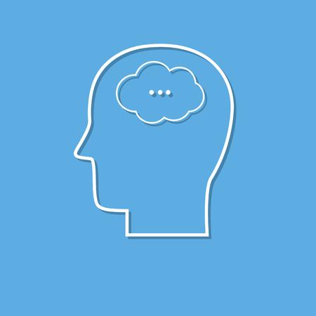 Human mind icon cut from white paper. Creative logo design. Modern pictogram concept for web design Ilustração