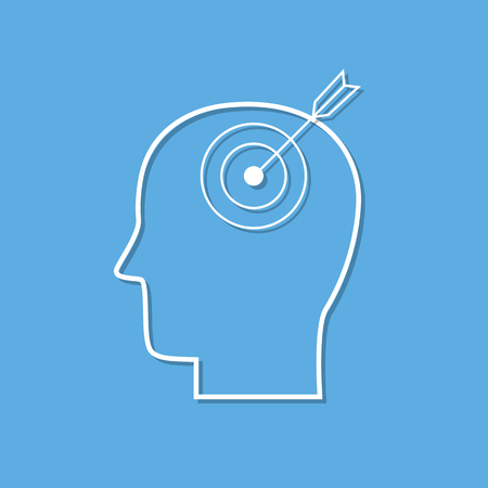 Human mind icon,purpose symbol cut from white paper. Creative logo design. Modern pictogram concept for web design