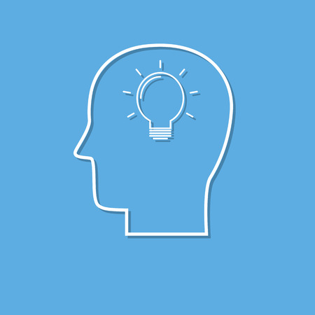 Symbool van brainstorm pictogram gesneden uit het Witboek. Creatief logo-ontwerp. Modern pictogramconcept voor Webontwerp Stock Illustratie