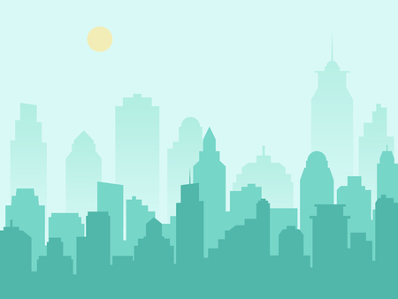 City silhouette cityscape and morning mist. Vector illustration