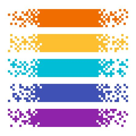 Collection of abstract color pixel web banners for headers. Vector set of templates ready for your text or design