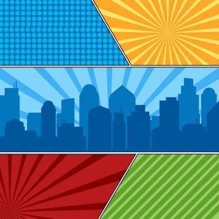Comic book page template with radial backgrounds and city silhouette. Colorful vector backgrounds in pop-art style Çizim