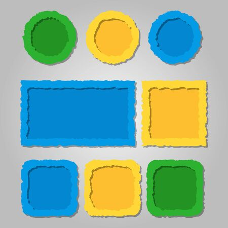Colored torn paper frames with shadows,different shapes. Vector set of templates for web design Çizim