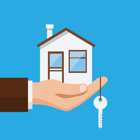 Real estate offer, businessman holding a house and key. Offer of purchase house, rental of Real Estate. Vector illustration flat design Çizim