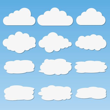 Set of different paper clouds with shadows. Vector web elements for  messages Çizim