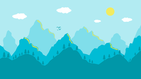 Cartoon mountains landscape morning, artistic blue panoramic view. Vector illustration of mountain ridges