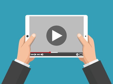 Hands holding holding white tablet computer with video player on screen. Digital tablet pc. Vector flat design concept online video Çizim