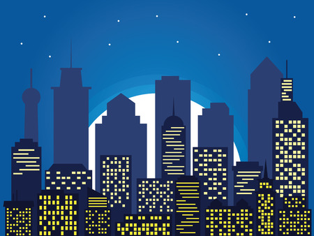 Night silhouette of the city and full moon with stars, cartoon style. Vector illustration of cityscape, flat design Stok Fotoğraf - 91475878