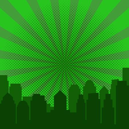 Pop art sunrise and modern silhouette city. Comics book design background. Vector illustration retro style
