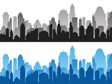 Set of black and blue horizontal cityscape backgrounds. Vector city silhouettes, element for design banners,web design Çizim