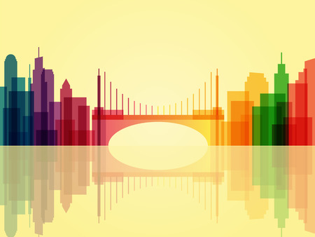 Stylish transparent cityscape background with bridge and reflection. Modern architecture. Colorful urban landscape. Horizontal banner with megapolis panorama. Vector illustration