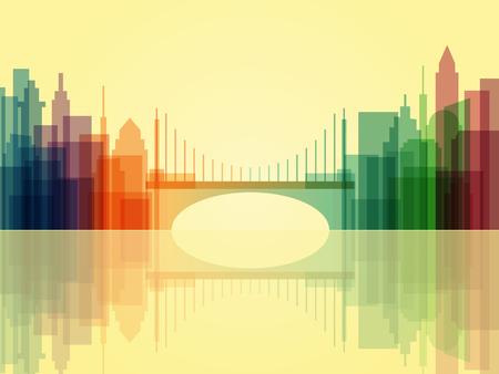 Stylish transparent cityscape background with bridge. Modern architecture. Colorful urban landscape. Horizontal banner with megapolis panorama. Vector illustration Illustration