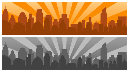 Sunrise and modern silhouette city in Pop art style,two colors. Comics book design background. Vector illustration retro style Çizim