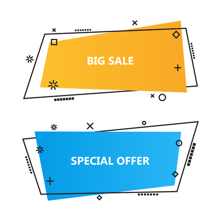 Trendy promotion business banners,speech bubbles. Ribbon banner, price tag, sticker, badge, poster. Vector set in linear flat style Çizim