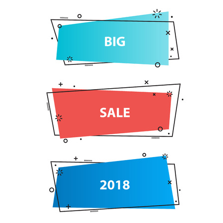 Trendy promotion business banners,stickers. Ribbon banner, price tag, speech bubble,badge, poster. Vector set in linear flat style