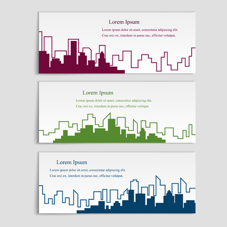 Vector set of banners with city silhouettes,flat linear style. Cover template for architectural design