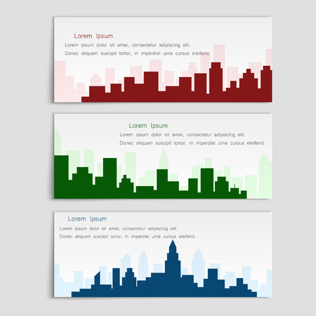 Vector set of banners with city silhouettes,flat style. Cover template for architectural design Çizim