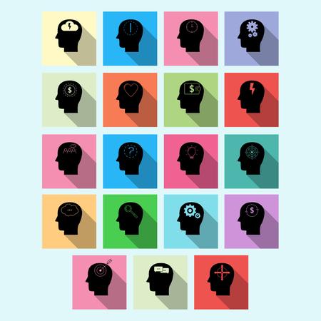 Vector set of brain activity icons with long shadow. Creative logo design. Modern vector pictogram concept for web design