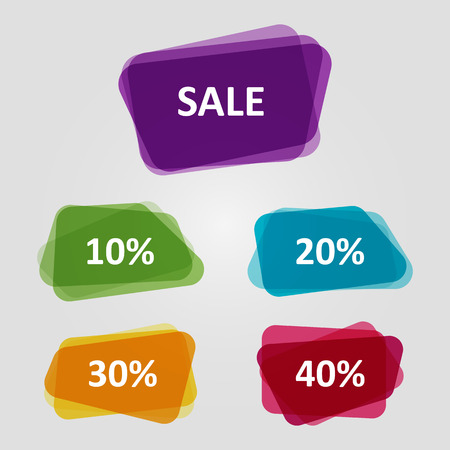 Vector set of colorful OFF Sale discount banners. Graphic overlay banners, discount offer price tag