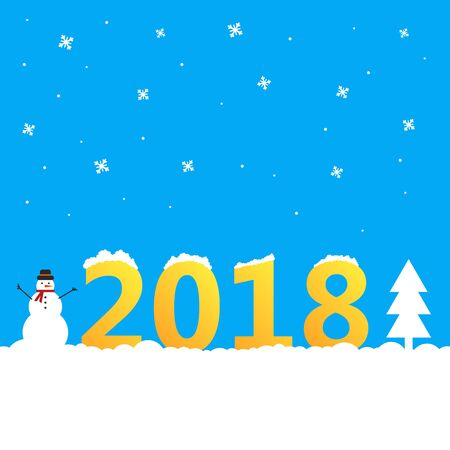 2018 Background with snowman and Christmas tree. Blue greetings card for Christmas,Happy New Year invitations.Vector illustration Çizim