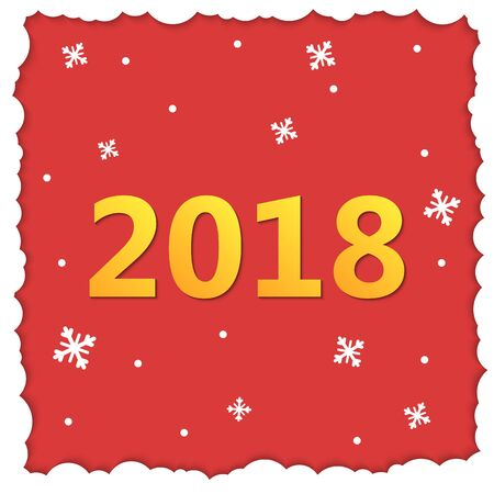 2018 Happy New Year Background. Red greetings card for Christmas invitations. Paper cut winter square frame. Vector illustration